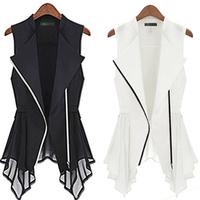 2013 punk style elegant slim waist comfortable all-match gentlewomen vest black and white