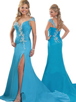 2013 Hot Cheap Plus Size Dresses Cap Sleeves Chiffon Crystal Beaded Sky Blue Side Slit Evening Gown RO2024