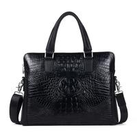 Quality Crocodile Pattern Male Shoulder Bag Casual Bag Man Cowhide Commercial Genuine Leather Messenger Bag Tootes Men's Bags