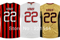 13-14 AC Milan home Soccer Jersey #22 KAKA Thailand Quality football Jerseys uniforms embroidery Logo