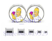 Wholesale 60pcs/lot stainless steel double flare ear plug gauge flesh tunnel ear stretcher ear expander SDF039