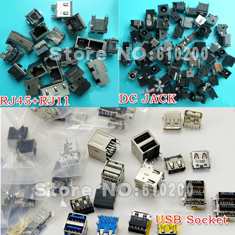 Free Shipping Common Laptop repair parts set 78/pcs Laptop DC Power Jack+19/pcs RJ45 RJ11 Network Socket+44/pcs USB Socket(China (Mainland))