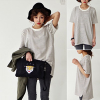 Black and white Sty nda stripe color block navy sailor suit loose t-shirt bf short-sleeve female Tops Pullover