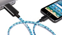 Floating LED Lighting Cable EL Luminous USB Charger Sync Flash Cable For Micro USB Mobile Phones!