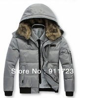 Wholesale 2013 Winter Newest Arrival Mens Fashion Fur Collar Hooded Down Jacket/Fashion Down Parkas With Hoody