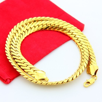 Men's high quality fashion rough gold necklace chain 24k gold-plated necklaces men jewelry Christmas gift Colar Banhado A Ouro