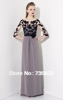 Free shipping Sexy fashion 2013 for sale Gray A line  Applique Lace Flower   Long Chiffon evening gowns Evening dress A266