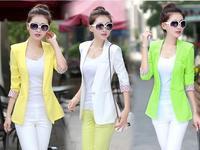 2014 fashion spring autumn Women New black/white Stripe blazer Jacket  feminino blaser Size M L Free Shipping 755