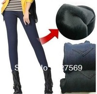Winter Thicken Velvet Fleecews Leggings For Women Warm Pants Imitate Jeans Denim Legging L/XL/XXL/xxxl Black/Blue