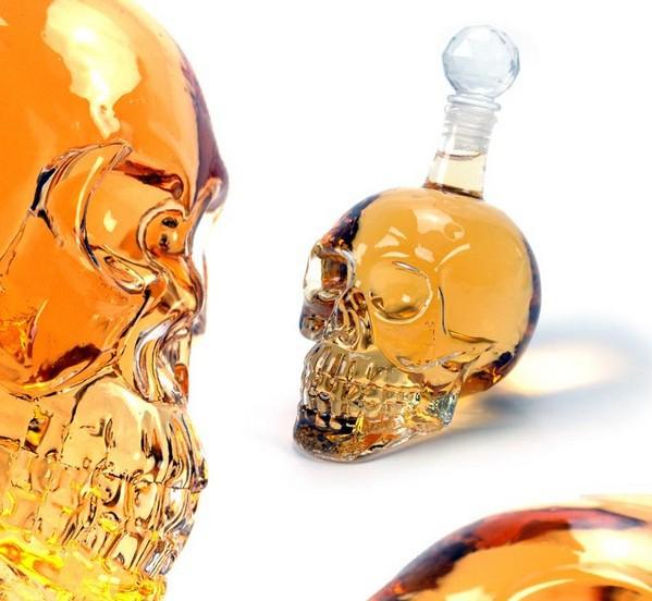Free shipping 350ml Crystal Skull Head Shape Wine Drinking Vodka Glass Bottle Decanter(China (Mainland))