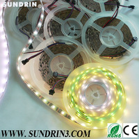 free shipping led digital strip light,ws2801 DC5V 32leds/m 32ic black pcb non-waterproof 5m