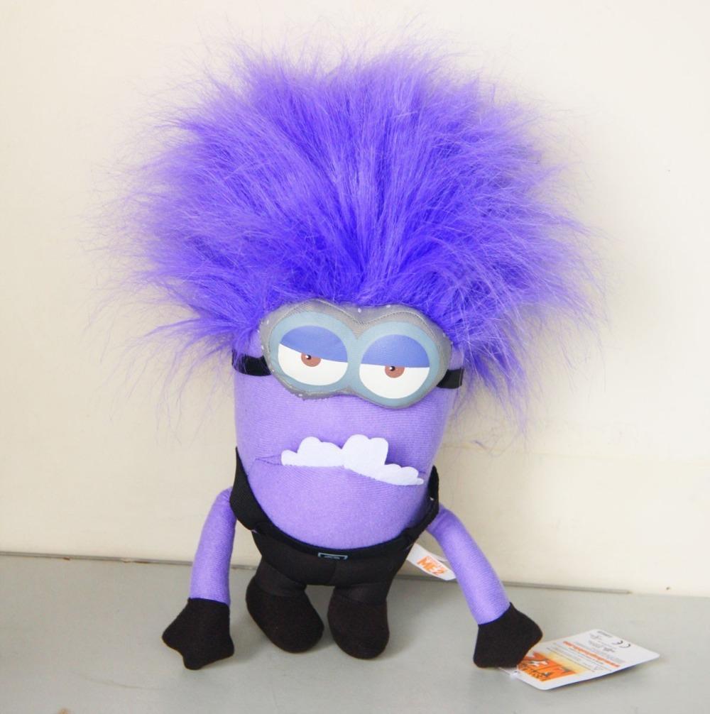 Cool Despicable me 2 Jumbo Purple Evil Minion Plush Doll Toy 3D Eye 12'' New(China (Mainland))