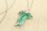 20pcs/lot Lord of The Rings Elven Leaf Brooch Green Fairy Replica Jewelry Movie Special Gift with chain
