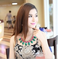 Min order is $10(mix order)Drop big gem fruit green acrylic fresh candy color  necklace chain fashion choker necklaces