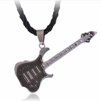 Fashion  Rope  Chain  Stainless Steel Guitar   Man Pendant  Necklace  Gift  Jewelry