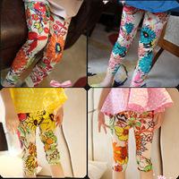 Fashion Ink Big Flower leggings render pants Skinny girls children baby clothing Nine/Five Length 5 sizes freeshipping 573127