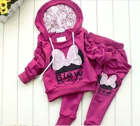 BCS005 factory outlet children 2 pcs suit Cartoon Minny girl clothing set hoodie+pants autumn baby set Retail Free shipping