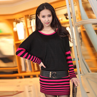 2013 autumn patchwork stripe slim hip batwing sleeve sweater one-piece dress o-neck long knitted basic shirt