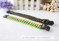 Free Shipping Parachute Cord Emergency Survival Paracord Bracelet with Plastic Buckle
