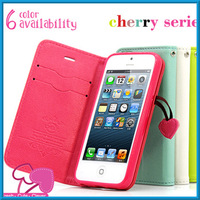 Cherry Series Leather Flip Case For iPhone 5 / 5S Wallet Case For iPhone 5S Protective Case Stand Cover + Original Strap