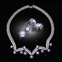 Free DHL Hot 2014 fashion AAA Cubic zirconia Jewelry set platinum plating girl friend gift free shipping season clearance