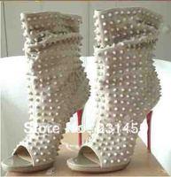 Free Shipping 2013 Top fashion women sexy black peep toe shoes women spike knee boots drop shipping