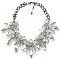 Free shipping 2013 design fashion clear crystal chunky luxury choker necklace for women length 45cm