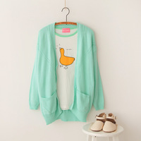 Free Shipping Ice cream loose plus size batwing sleeve twisted long-sleeve sweater cardigan women's