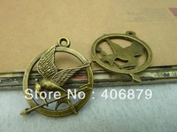 Min. order is $8(mix order) 20pcs Vintage Hunger Game Pendant,Antique Bronze Bird Charm,Connector Finding,Free Shipping 2013BC09