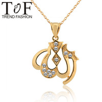 TP0868 White Cubic Zirconia Allah Pendant 18k Gold Plated Necklaces & Pendants For Women New 2013