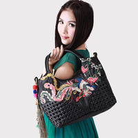 National trend embroidered bag handmade floccular handbag messenger bag women's soft leather handbag