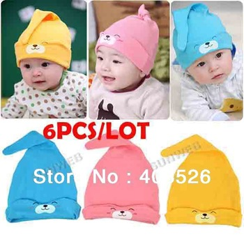 6PCS/LOT available baby hat baby cap infant cap Cotton Infant Hats Skull Caps Toddler Boys & Girls gift 3 Colors 13392