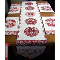 Table cloth 100% cotton chinese style table runner placemat lucky Ruyi dining table combination