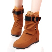 2013 summer-autumn snow boots flat heel lace buckle short boots elevator women's shoes single boots fashion martin boots