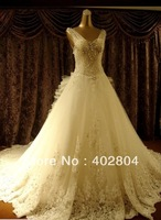 2013 new Ivory  Strapl Sweetheart Swarovski Crystal Royal Cathedral Train Lace Wedding Dresses with bow