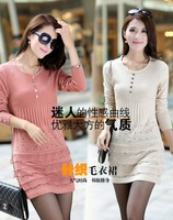 2013 women slim autumn knitted sweater dress long-sleeve basic one-piece dress