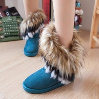 2013 autumn and winter snow boots boots fox fur flat-bottomed short cotton-padded shoes winter boots