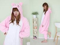 Pink pig coral fleece cartoon one piece sleepwear