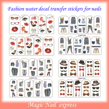 NAIL ART WRAP WATER TRANSFER DECALS PRETTY LADY BEARD/JEANS/KISS/GLASSES 4sheets/lot