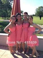 Pretty color!Cute sweetheart chiffon coral bridesmaid dresses brides maid dresses BN056