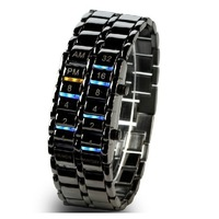 New Fashion Waterproof Binary LED Fashion Innovative Lovers Watch Dress Women Steel Watches Free Shipping