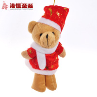 Christmas Gift Fabric Plush Christmas Bear Doll 8*16cm 10pieces/lot Christmas Decoration Supplies