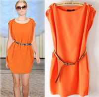 2013 fashion sleeveless o-neck button decoration lantern loose one-piece dress