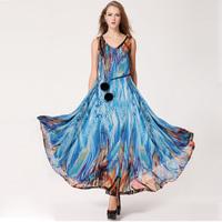 Fashion 2014 New In Women's Long Chiffon Dresses Elegant Bohemian Style Sleeveless Female Chiffon Maxi Dresses With Belt