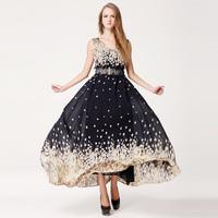 Fashion Women's Long Chiffon Dresses 2014 Summer New In Plus Size Loose Double V-neck Sleeveless Female Chiffon Dress With Belt