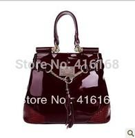 2013 new European and American fashion  leather high patent leather burgundy handbag Messenger bag handbag