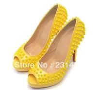 Sexy yellow rivets high heel pumps women open toe