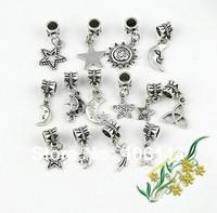 200pcs Mixed Tibetan Silver Star Moon Sun Charms Dangle Beads Fit European Bracelets DIY 14 styles