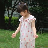 Pure silk sleepwear lounge female child baby sleepwear short-sleeve capris set