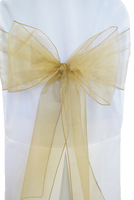 free shipping  champagne gold organza sash /chair cover sash /chair sash /square end organza sash